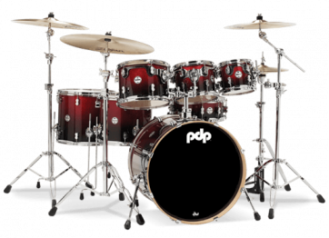 PDP CONCEPT MAPLE CM7 STUDIO22 RED TO BLACK SPARKLE FADE