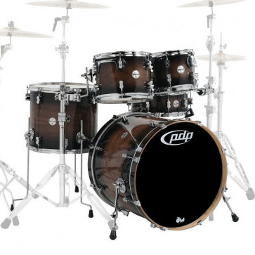 PDP CONCEPT MAPLE EXOTIC CMX5 STAGE22 CHARCOAL BURST OVER WALNUT