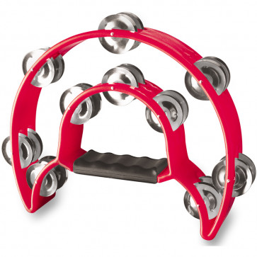 TAMBOURIN STAGG DOUBLE DEMI LUNE 20 CYMB - ROUGE