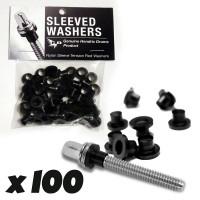HENDRIX SW100B SLEEVED WASHERS RONDELLES NYLON BLACK (X100)
